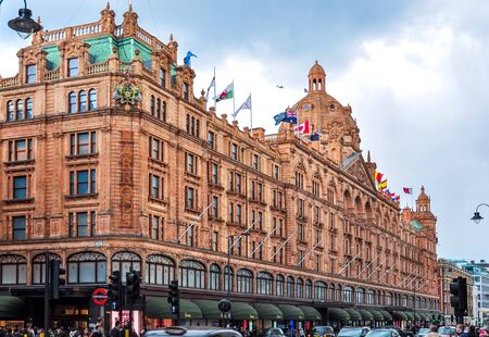 London, UK - April 2018: Harrods department store in London