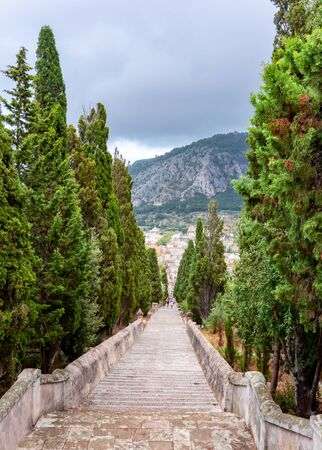Calvary Stairs in Pollensa town, Mallorca, Balearic islands, Spain Фото со стока