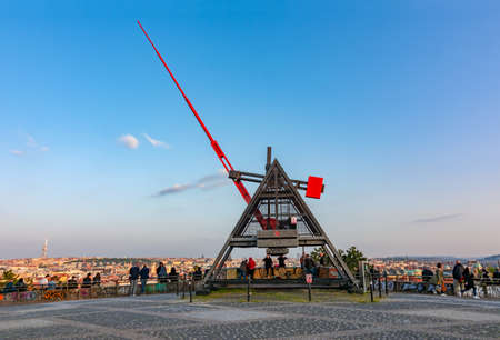 Prague, Czech Republic - May 2019: Prague Metronome at sunset