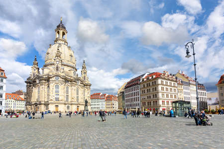 Frauenkirche (Church of Our Lady) on New Market square (Neumarkt), Dresden, Germany