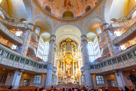 Interiors of Frauenkirche (Church of Our Lady), Dresden, Germany Editorial
