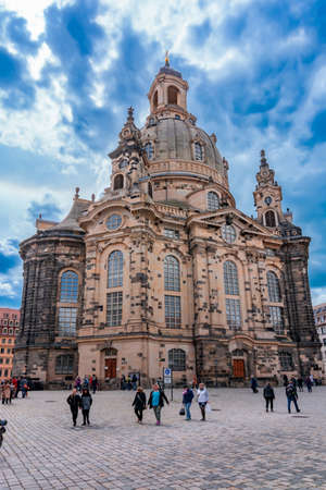 Dresden, Germany - May 2019: Frauenkirche (Church of Our Lady) on New Market square (Neumarkt)