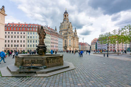 Dresden, Germany - May 2019: Neumarkt (New Market) square with Frauenkirche (Church of Our Lady) in center of Dresden