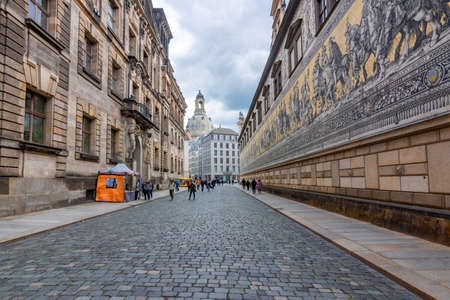 Dresden, Germany - May 2019: Procession of Princes (Furstenzug) on the outside wall of Dresden Castle