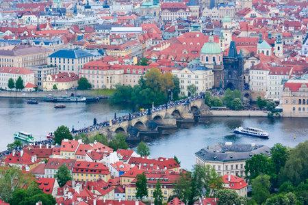Charles bridge over Vltava river, Prague, Czech Republic