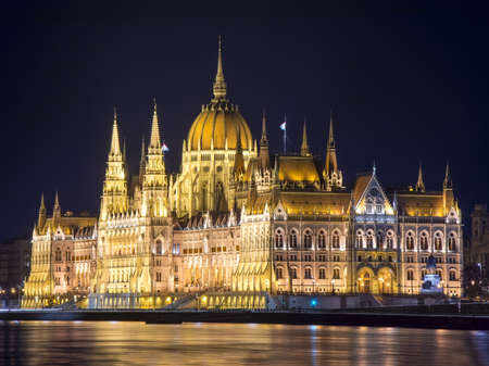 Hungarian Parliament Building at night in Budapest, Hungary