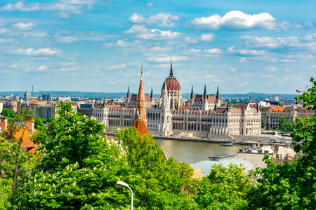 Budapest cityscape with Hungarian parliament building and Danube river, Hungary