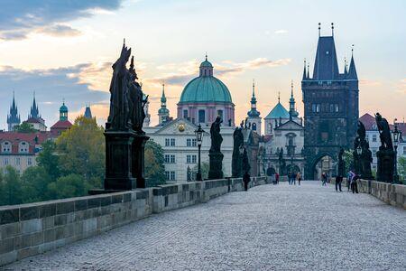 Charles Bridge (Karluv Most) and Prague architecture at sunrise, Czech Republic