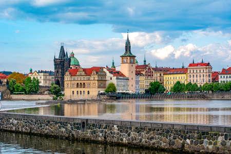 Prague cityscape with Old Town Bridge Tower and Charles bridge over Vltava river, Czech Republic Reklamní fotografie