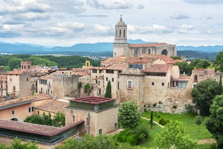 Girona Cathedral and old town, Spain 版權商用圖片