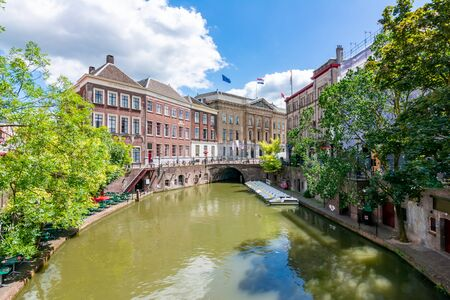 Utrecht architecture and two-level canals in summer, Netherlands