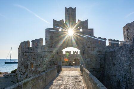 Gate of Saint Paul in Rhodes fortress, Greece 版權商用圖片