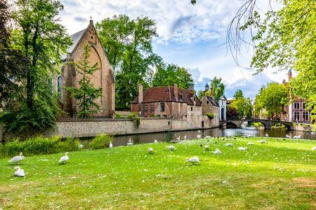 Lake of Love in summer, Bruges, Belgium Zdjęcie Seryjne