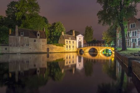 Lake of Love and Beguinage (Begijnhof) at night, Brugge, Belgium
