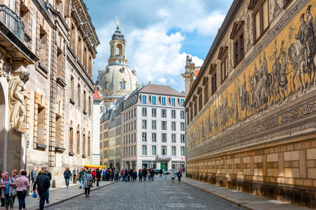 Procession of Princes (Furstenzug) on the outside wall of Dresden Castle, Germany Editorial
