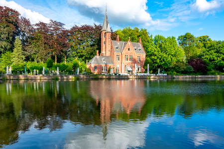 Lake of Love in summer, Bruges, Belgium