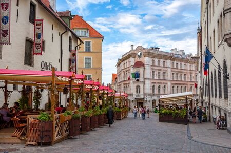 Streets of old Tallinn with cafes and restaurants, Estonia