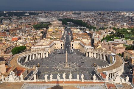 St. Peter's square and Rome cityscape from top of St. Peter's Cathedral, Vatican
