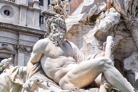Fountain of Four Rivers (Fontana dei Quattro Fiumi) on Navona square, Rome, Italy