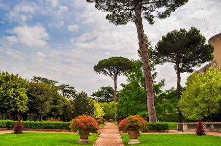 Vatican gardens in spring, center of Rome, Italy