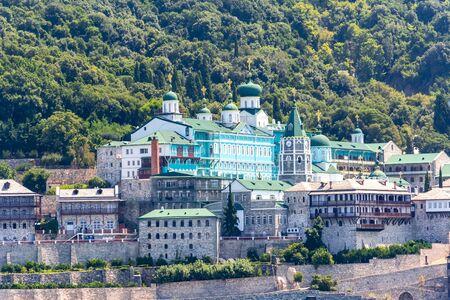 Saint Panteleimon Monastery in Athos, Chalkidiki, Greece Imagens