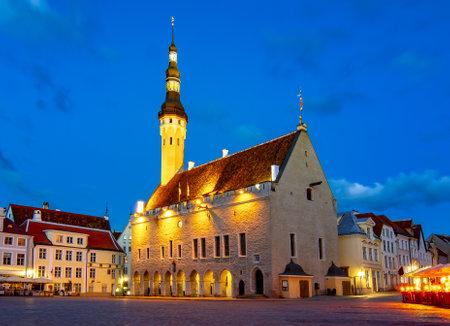 Tallinn City hall on Market square at night, Estonia