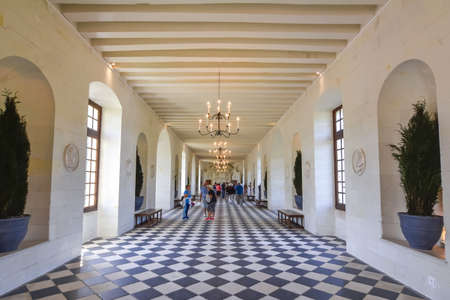 Grand gallery interior of Chenonceau castle (chateau) in Loire valley, France Editorial