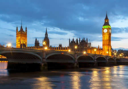 Big Ben tower and Houses of Parliament at night, London, UK Editorial