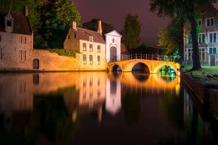Lake of Love and Beguinage (Begijnhof) at night, Brugge, Belgium