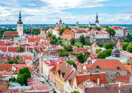 Tallinn cityscape with Cathedral hill over old town from St. Olaf's church top, Estonia