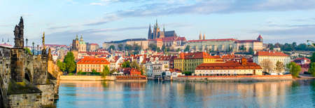 Prague panorama with Charles Bridge and Prague Castle at background, Czech Republic Reklamní fotografie