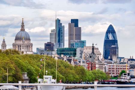 City of London cityscape and St. Paul's Cathedral, UK Stok Fotoğraf