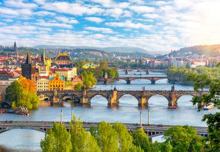 Prague cityscape with bridges over Vltava river at summer sunset, Czech Republic 免版税图像