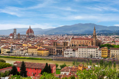 Florence cityscape with Florence Cathedral (Duomo) and Basilica of Holy Cross (Santa Croce), Italy