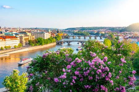 Bridges over Vltava river in Prague at sunset, Czech Republic