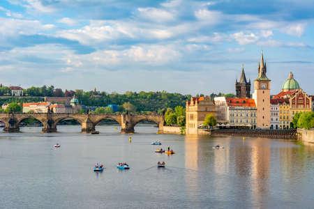 Prague cityscape and Charles bridge over Vltava river, Czech Republic