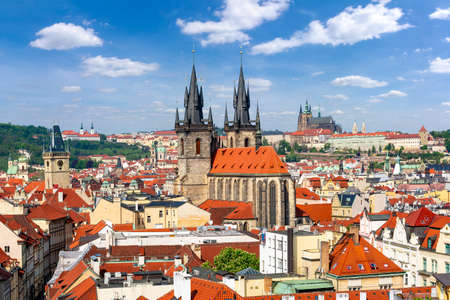 Church of Our Lady before Tyn with Prague Castle at background, Czech Republic