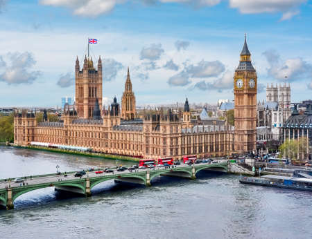 London cityscape and Houses of Parliament with Big Ben tower, UK Stock Photo