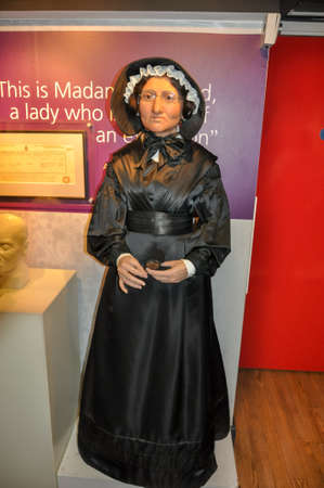London, UK - April 2019: Statue of Madame Tussauds in museum