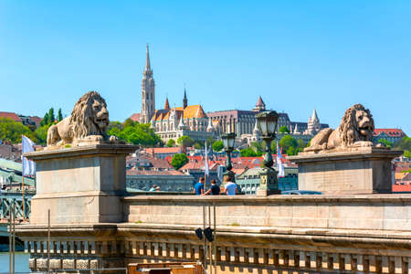 Lions of Chain bridge with Fisherman's Bastion at background, Budapest, Hungary