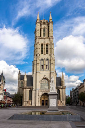 Saint Bavo Cathedral in center of Ghent
