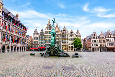 Market square in center of Antwerp with Brabo fountain, Belgium