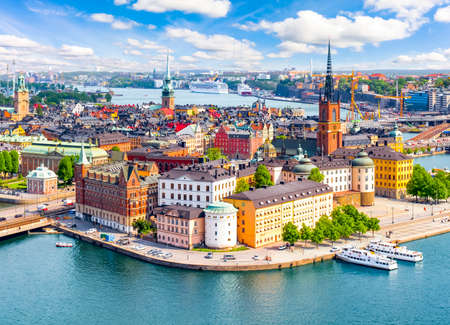 Stockholm old town (Gamla Stan) cityscape from City Hall top, Sweden