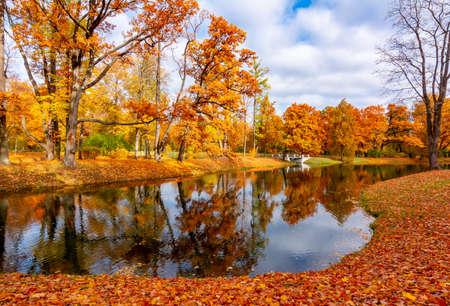 Alexander park in fall, Pushkin (Tsarskoe Selo), St. Petersburg, Russia 免版税图像