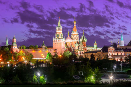 Moscow skyline with Cathedral of Vasily the Blessed (Saint Basil's Cathedral) and Spasskaya Tower of Moscow Kremlin on Red Square at sunset, Russia