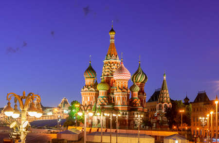 Cathedral of Vasily the Blessed (Saint Basil's Cathedral) on Red Square at night, Moscow, Russia 免版税图像