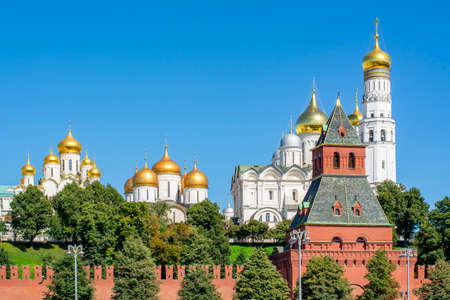 Towers and Cathedrals of Moscow Kremlin, Russia 免版税图像
