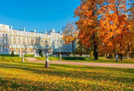 Catherine park in autumn foliage, Tsarskoe Selo (Pushkin), Saint Petersburg, Russia 免版税图像