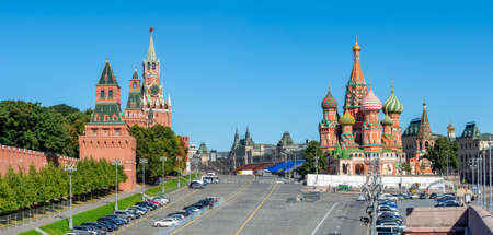 Moscow cityscape with Cathedral of Vasily the Blessed (Saint Basil's Cathedral) and Spasskaya Tower on Red Square, Russia