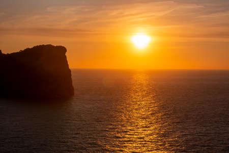 Sunset at sea on Formentor cape, Mallorca island, Spain